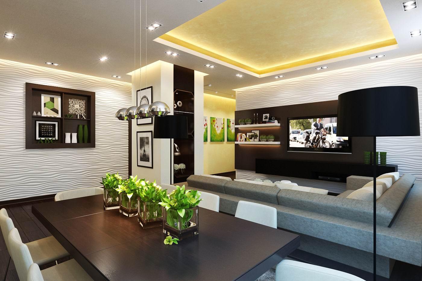 Дизайн гостиной-кухни в стиле модерн фото