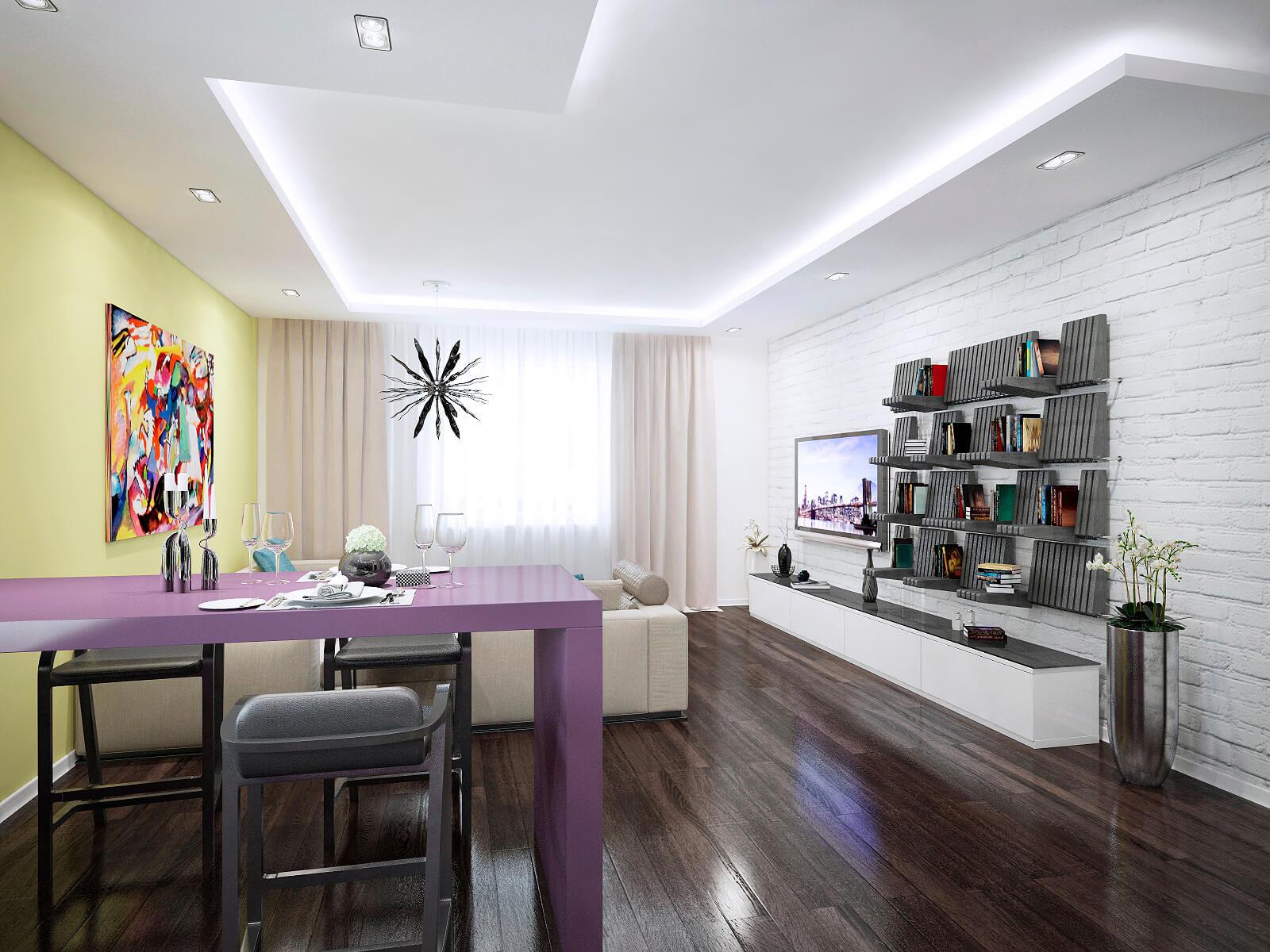 Дизайн трехкомнатной квартиры 80 кв м